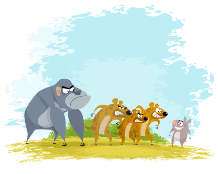 Vector illustration of a five funny animals. Illustration