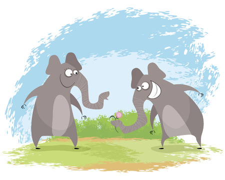 Vector illustration of a two elephant love