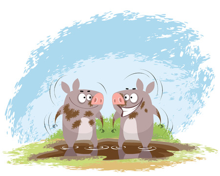 Vector illustration of a two boars in mud Illustration