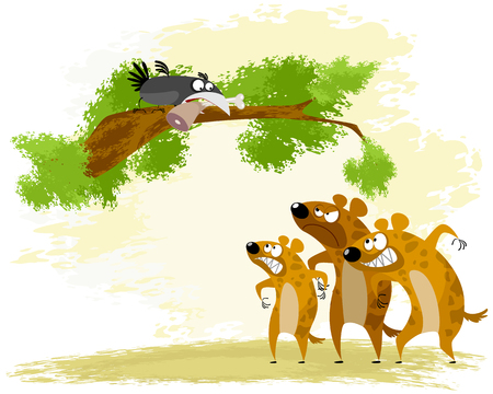 Vector illustration of a crow teases hyena