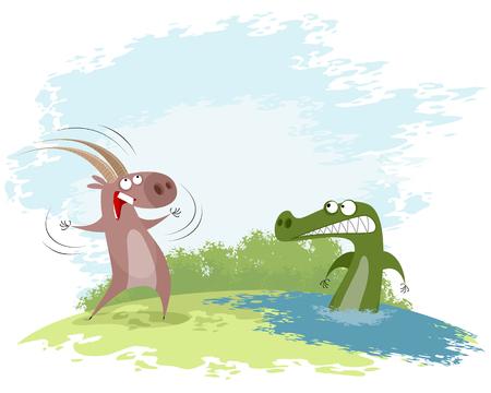 Vector illustration of a goat teases the crocodile