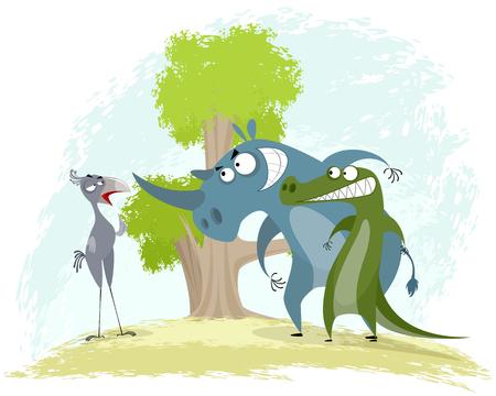 Vector illustration of a confrontation: bird secretary vs rhino and crocodile