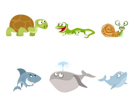 Vector illustration of a six animals set