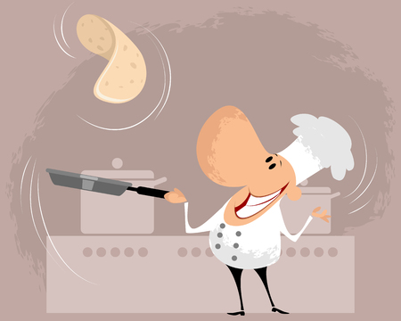 Vector illustration of a cook in the kitchen