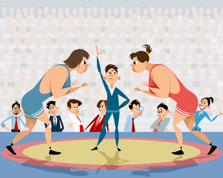 Vector illustration of a competition of free-style wrestling Illustration