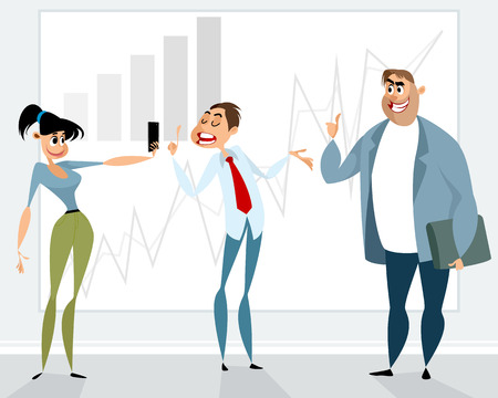Vector illustration of a successful presentation of the employee