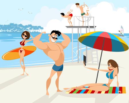 Illustration vectorielle de personnes reposent sur la plage Vecteurs