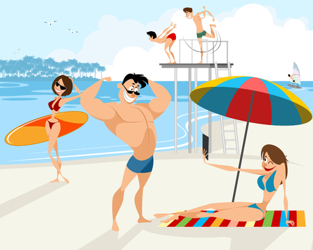 Vector illustration of people rest on the beach Vetores