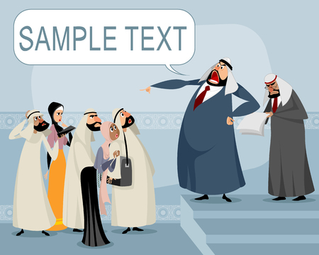 a vector illustration of an Arabic speaker and his listeners. Illustration