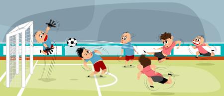 Vector illustration of boys at playing football