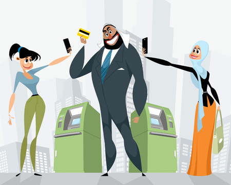 Illustration of arab business man with a bank card.