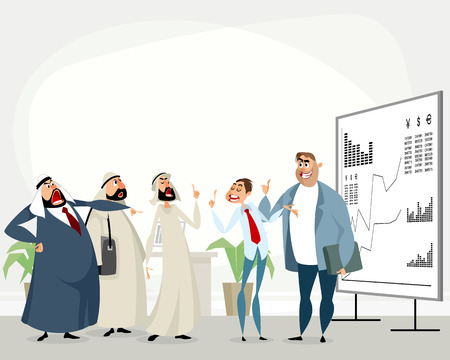 Illustration of discussion of arab and european partners. Ilustracja