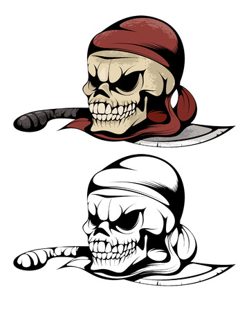Two skulls of pirate on the knife Illustration