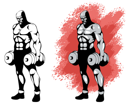 Vector illustration of a bodybuilder in two variants Illustration