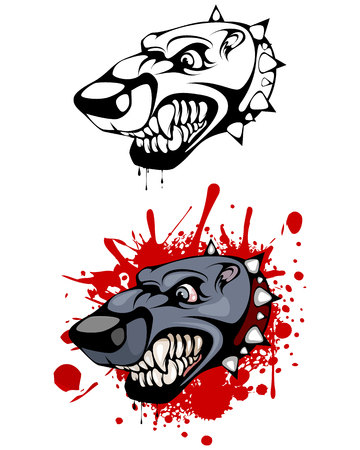 Vector illustration of a head of evil dog