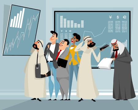 Vector l'illustrazione degli uomini d'affari che visualizzano i risultati del commercio Vettoriali