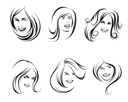 Six sketches of portraits of women Illustration
