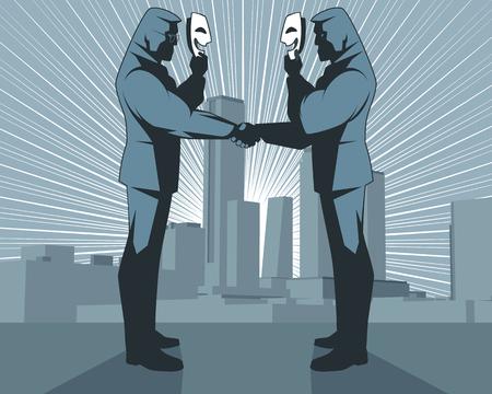 Illustratie van hypocriete handdruk van zakenlieden