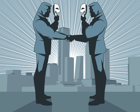Illustration of hypocritical handshake of businessmen