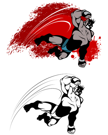 Illustration of expressive fighter in jump