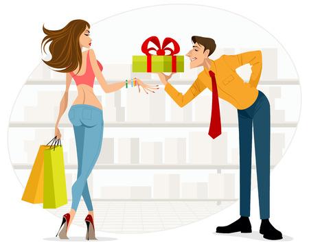 Illustration of man handing woman a gift