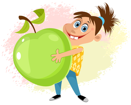 A Vector illustration of a girl with an apple