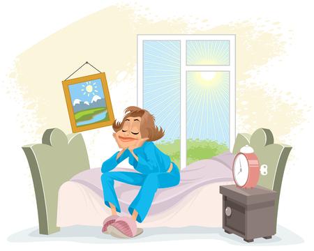 Vector illustration of a morning awakening woman Vettoriali