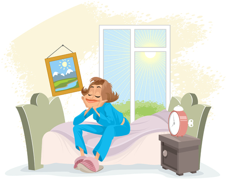 Vector illustration of a morning awakening woman Ilustração