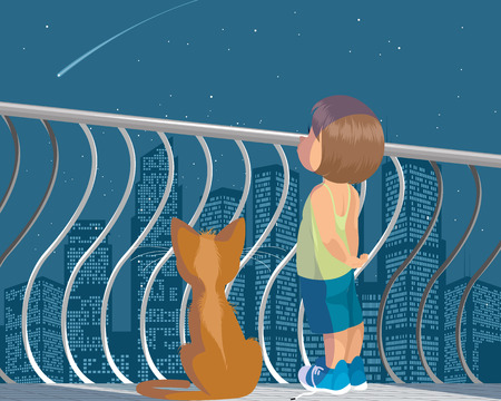 Vector illustration of a child and cat Illustration