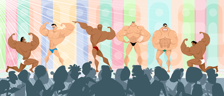 Competition among the bodybuilders Vector illustration Illustration