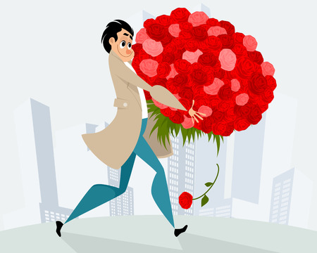 Vector illustration of man with huge bouquet of flowers