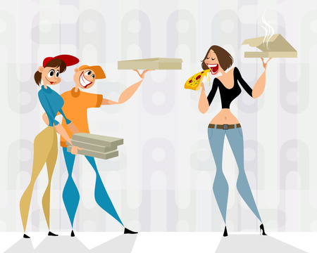Vector illustration of pizza delivery guys and a client