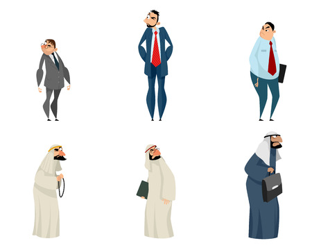 Vector illustration of six suspicious wary business partners Illustration