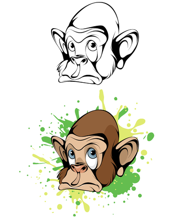Vector illustration of a cartoon head monkey Illustration