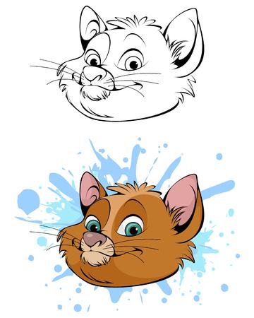Vector illustration of a cute head of cat   Vectores