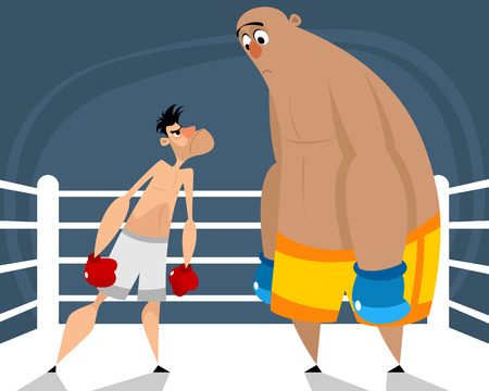 Vector illustration of two boxers in the ring Ilustracja
