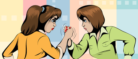 Vector illustration of a fight between two women