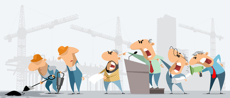 Vector illustration of construction workers and superiors