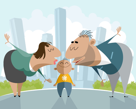Vector illustration of parents kissing a child
