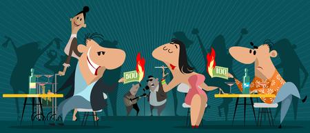 Vector illustration of people in a night establishment