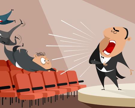 Vector illustration of an opera singer on stage Stock Illustratie