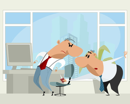 Vector illustration of a funny office life