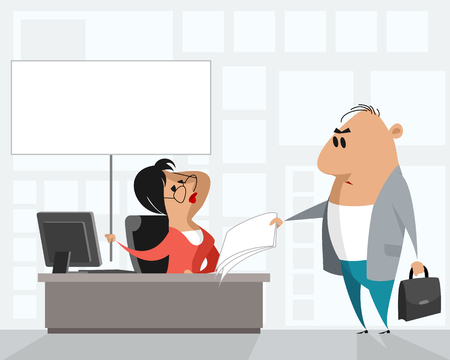 Vector illustration of an office situation with a poster 일러스트