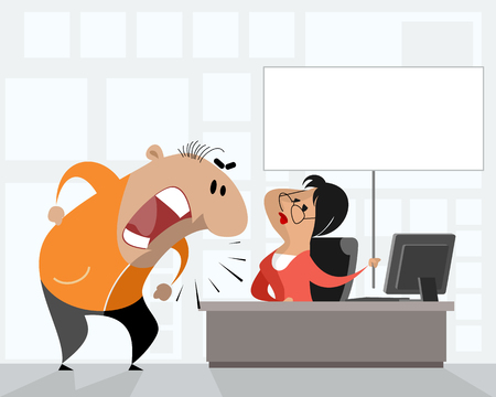 Vector illustration of a disturbed man in office.