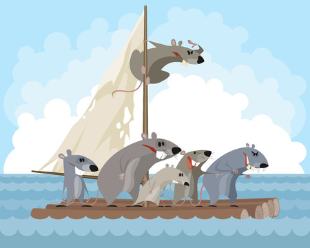 A Vector illustration of rodents on a raft isolated on plain background. Ilustrace