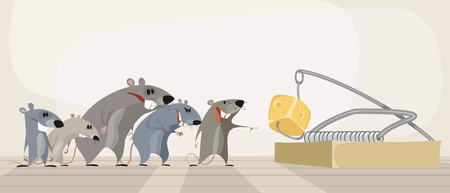 A Vector illustration of rodents and cheese in mousetrap isolated on plain background.