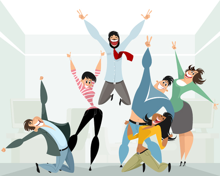 A Vector illustration of happy people in office isolated on plain background.