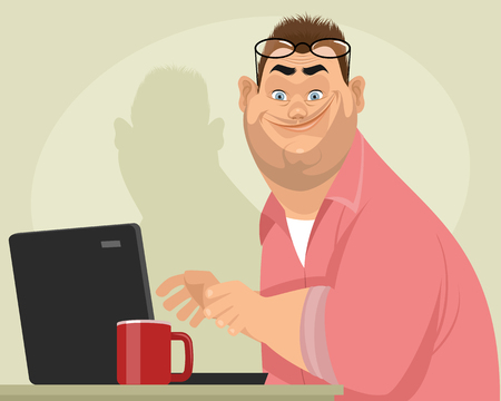 A Vector illustration of a fat male programmer isolated on plain background. Ilustracja