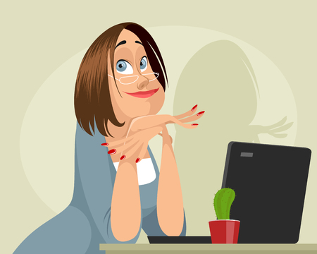 A Vector illustration of a dreamy female programmer