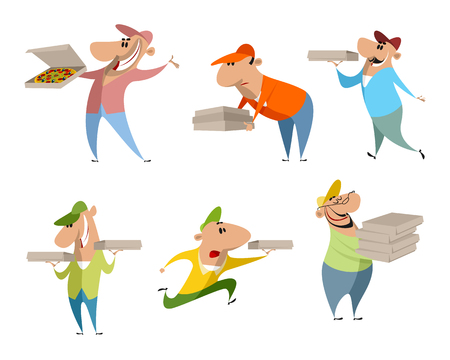 A Vector illustration of set of six pizza deliverers isolated on plain background.